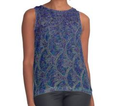 """""""Electric Fish"""" Contrast Tank by christophorbia on #redbubble  #style #fashion #shopping #tank #top #blue #mermaid #ocean #aquatic #sea #fish #scales #pattern #digital #pixel"""