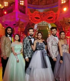 The Oberoi's are slaying us with their masquerade party look! ❤️ Heart if you think they look stunning. Lehenga Gown, Bridal Lehenga, Bollywood Celebrities, Bollywood Fashion, Bridal Dresses, Flower Girl Dresses, Princess Dresses, Shrenu Parikh, Indian Princess