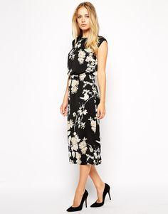 ASOS Pencil Dress in Bird and Floral Print