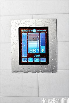 "Personalize shower time with this tablet-like, full-color digital touch screen. You can program up to nine separate ""scenarios."" A thermostatic valve regulates water temperatures from up to four outlets."