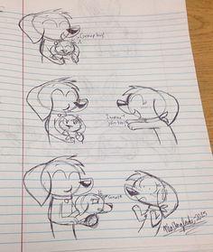 Sam wants to hug Arthur and Nora, but Nora won't let her. #blackink #creativeniaarts #artist #thethreemutts #dogs #art