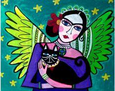 Frida Kahlo Mexican Folk Art Angel Poster Print of Heather Galler Painting Green Purple Black Cat. $24.00, via Etsy.