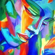 """""""Inner strength"""" - Pintura, 53x53x3 cm ©2017 por Helenka - Arte abstracto, Arte figurativo, Expresionismo, Fauvismo, Modernismo, Pintura contemporánea, Retrato, Tela, Arte abstracto, Colores, Mujeres, Fantástico, Interiores, Retratos, affordable original art, bold colors, acrylic on canvas, woman portrai..."""