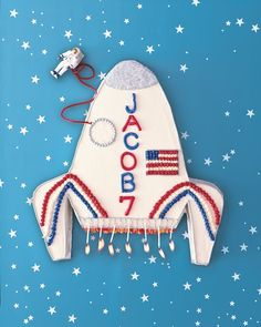 Rocket Ship Cake Recipe -- download our rocket template and use gel-paste food coloring and licorice to decorate