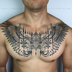 Owl chest tattoo for man - 65 Nice Chest Tattoo Ideas