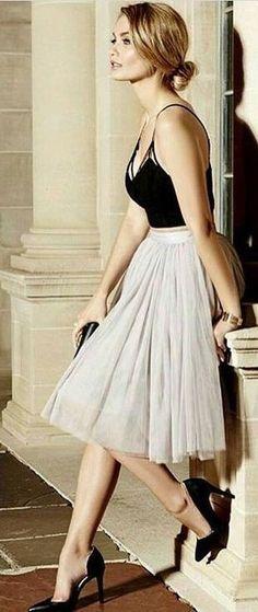Black Crop + Tulle Skirt Source