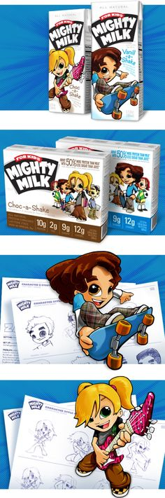 mighty milk for kids packaging design