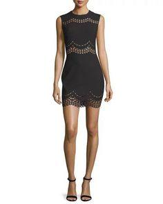 $365 Elizabeth and James Black Scalloped Laser Cut Merna Sheath Dress 6 NWT E326 #ElizabethandJames #Sheath #Cocktail