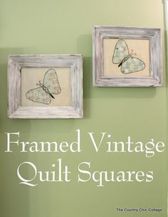 Frame vintage quilt squares as art in your home. Great way to save family quilts that are torn or worn.
