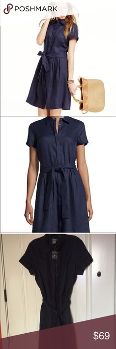 Neiman Marcus Linen Shirt Dress Brand new. Navy blue. Pit to pit  21 inches. 18 inches waistline laying flat. Navy color 100% Linen. Approximately 40 inches length from shoulder to hem. Neiman Marcus Dresses