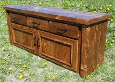 """A custom Red Fir console built for a customer, 72"""" long with drawers and doors.  Nice thick 2"""" red fir, circle sawn was used for the case and finished off with a 1"""" thick circle sawn red fir for the drawers and doors."""