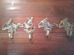 Wall Hook アンティーク金具小型フック4個 帽子掛房掛け小鳥 インテリア 雑貨 家具 Antique ¥1yen 〆06月18日