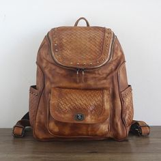 81.59$  Watch now - Hot Sale Women Vegetable Tanned Leather Backpacks Genuine Leather Vintage Weaving Backpack Female Fashion Travel Backpack  #magazineonlinebeautiful