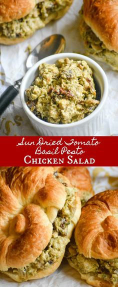 These Sun Dried Tomato Basil Pesto Chicken Salad Sandwiches are quick & easy to whip up, making lunch time a breeze. It's good, old fashioned comfort food with Italian flair served up on a buttery, flaky croissant roll. #italian #italianfood #basil #pesto #chicken #salad #sandwich