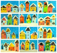 Houses - paper and white paint snow. Seen at http://www.plastiquem.blogspot.com.es/