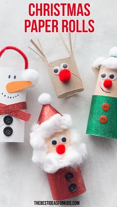 Christmas Toilet Paper Roll Crafts - Easy Christmas crafts for kids!Christmas Toilet Paper Roll Crafts - Easy Christmas crafts for kids! - bestideasfo Christmas crafts How to Make a Toilet Paper Preschool Christmas Crafts, Christmas Paper Crafts, Christmas Diy, Christmas Activities For Preschoolers, Christmas Decoration Crafts, Christmas Crafts For Children, Simple Christmas Crafts, Christmas Snowman, Decor Crafts