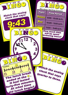Time Bingo With Interactive Whiteboard Option - meets CCS Standards for 3rd Grade. Tell and write time to the nearest minute and measure time intervals in minutes. Solve word problems involving addition and subtraction of time intervals in minutes, e.g., by representing the problem on a number line diagram. Check it out at TpT. Full download is three dollars.