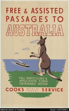 'Come to Australia, land of the KANGAZILLA!' Free & assisted passages to Australia. Poster for Cook's World Travel Service, via National Library of Australia Sydney, Posters Australia, Australia Pictures, Australian Vintage, Tourism Poster, Luggage Labels, Old Ads, Advertising Poster, Vintage Travel Posters