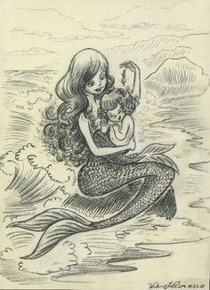 Mermaid and merbaby. Reminds me of the fountain in Ghirardelli Square, San Francisco. Just lovely. Mermaid Nursery, Mermaid Room, Baby Mermaid, The Little Mermaid, Mermaid Drawings, Mermaid Tattoos, Mermaid Paintings, Mermaid Fairy, Mermaid Pictures