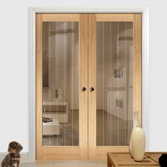 Mexicano Oak Door Pair with Clear Safety Glass and Frosted Lines - Lifestyle Image.    #glazeddoors #doorpair