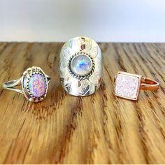 Pink Opal Navajo Ring    Rainbow Moonstone Ring    Rose Gold Square Druzy Ring ❤️ www.indieandharper.com Druzy Ring, Gemstone Rings, Indie And Harper, Silver Jewelry, Silver Rings, Rainbow Moonstone Ring, Pink Opal, Navajo, Gypsy