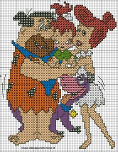 schema i flinstones con bimba Disney Cross Stitch Patterns, Cross Stitch Designs, Cross Stitch Baby, Cross Stitch Charts, Cross Stitching, Cross Stitch Embroidery, Stitch Character, Pixel Crochet, Stitch Cartoon