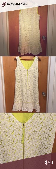 NWT Ann Taylor Loft Dress Ann Taylor Loft dress. New with tags. Size 8T. Zip up back. Lime green with an eggshell white (not very bright white) floral overlay. Gorgeous! Get it here for half price! LOFT Dresses