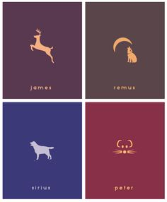 Moony, Padfoot, Prongs, and Wormtail