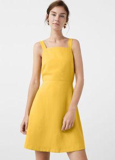 Short Yellow A-Line Sleeveless Dress