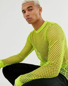 Buy ASOS DESIGN long sleeve t-shirt in neon mesh at ASOS. Get the latest trends with ASOS now. Rave Outfits Men, Fashion Outfits, Neon Green Outfits, Festival Looks, Mesh Clothing, Aesthetic Grunge Outfit, Gay Outfit, Asos, Rainbow Outfit