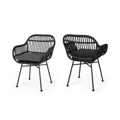 Shop Orlando Outdoor Woven Faux Rattan Chairs with Cushions (Set of 2) by Christopher Knight Home - On Sale - Free Shipping Today - Overstock - 27569218
