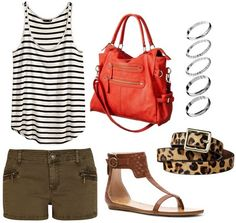 H stripe tank top, shorts, sandals, coral bag. #style