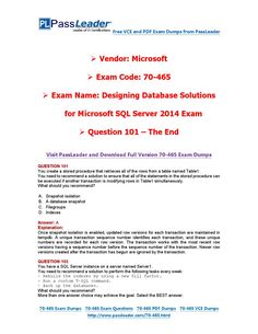 70-465 Exam Dumps with PDF and VCE Download (101-end) Microsoft Sql Server, Active Directory, Pdf, Coding, This Or That Questions, Free, Windows, Programming, Ramen