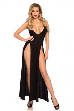 c692acb257a68 Leg Avenue Women s Deep-V Dual Slit Jersey Maxi Long Nightgown Dress