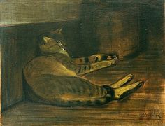 Theophile Alexandre Steinlen Lying Cat Early 20th century