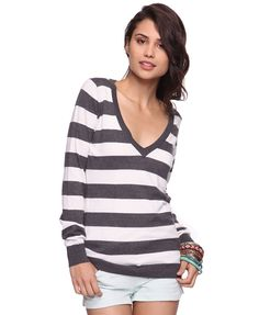 Striped v-neck sweater.