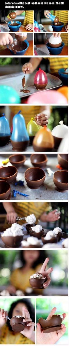 Make chocolate bowls with balloons plus 24 other Clever Food Hacks from Little White LionLittle White Lion