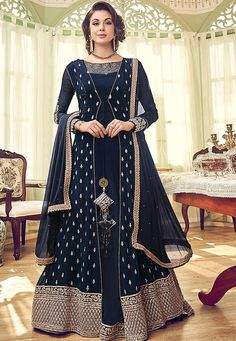Buy Georgette Embroidered Designer Anarkali Suit in Navy Blue Online, get attractive traditional appearance in thi beautiful anarkali dress Designer Salwar Suits, Designer Anarkali, Anarkali Gown, Anarkali Suits, Black Anarkali, Long Anarkali, Designer Wear, Designer Dresses, Designer Clothing
