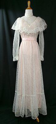 70's Vintage Pink & White S/M Victorian Wedding/ Hippie/ Boho/ Prairie dress