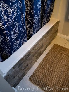 Home Decorating - DIY Update for bathtub: Stick Airstone to the side of the tub with adhesive in caulk gun and trim with round moulding. Diy Bathroom, Small Bathroom, Bathroom Ideas, Diy Bathtub, Bathroom Designs, Modern Bathroom, Jacuzzi Tub, Tile On Bathtub, Bathroom Repair