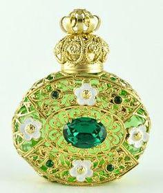 Vintage Light Green Perfume Bottle Gold Tone Filigree Big Dark Green Crystal