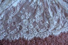 off white Chantilly lace fabric, ivory lace fabric with eyelash scalloped border, bridal lace fabric for wedding dress