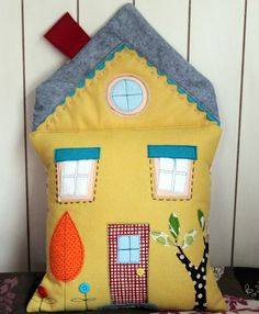 sewn wool felt dollhouse pillow,check this blog out , what talent she has