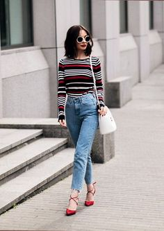striped sweater and high waisted denim