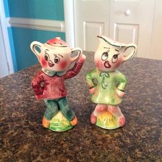 vintage anthropomorphic salt and pepper shakers