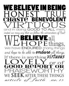13 th Article of Faith