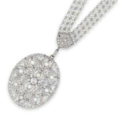 A NATURAL PEARL, PEARL AND DIAMOND PENDANT/NECKLACE  THE OLD EUROPEAN AND CIRCULAR ROSE-CUT DIAMOND OPENWORK FLORAL DESIGN OVAL SHAPE PENDANT/BROOCH WITH PEARL ACCENTS, SUSPENDED FROM A SEED PEARL NECKCHAIN, JOINED AT INTERVALS BY SIMILARLY-CUT DIAMOND PANELS, MOUNTED IN PLATINUM, 63.4 CM LONG. Edwardian or Edwardian style.
