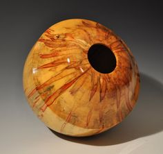 YUM!!  Starburst Flamed Box Elder turned pot by SilverfoxWoodStudio, $495.00