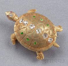 Antique 14kt Gold, Diamond, and Demantoid Garnet Turtle Brooch, Hedges   Sale Number 2510, Lot Number 634   Skinner Auctioneers