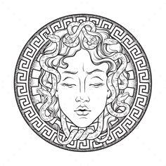Medusa Gorgon head on a shield hand drawn line art and dot work tattoo or print . - Medusa Gorgon head on a shield hand drawn line art and dot work tattoo or print design isolated vec - Medusa Kunst, Medusa Art, Medusa Gorgon, Medusa Drawing, Medusa Head, Medusa Snake, Serpent Snake, Head Tattoos, Body Art Tattoos